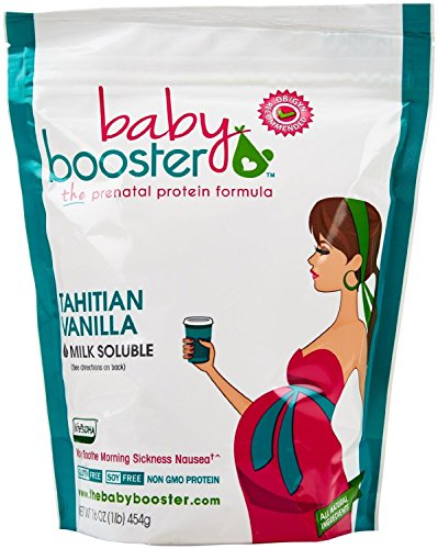 Prenatal Vitamin Supplement Shake - Baby Booster Tahitian Vanilla - 1lb bag - OBGYN Approved - All Natural - Tastes Great - Vegetarian DHA - High Protein - Folic Acid - B6 - Great for Morning Sickness (Best Smoothies For Pregnancy)