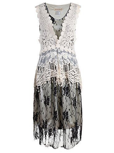 Anna-Kaci Womens Vintage Lace Gatsby 1920s Cocktail Dress with Crochet Vest, Black, Medium/Large