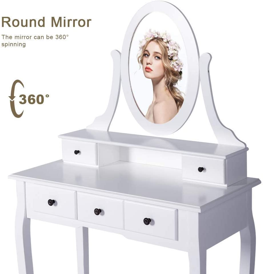 Kinsuite Vanity Makeup Table Set Dressing Table Cushioned Stool with Tri Folding Mirror and 4 Sliding Drawers White Wood Furniture for Girls Women