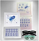 Stereo Fly Acuity Chart with Symbols and Shapes, Adult & Child Goggles Included