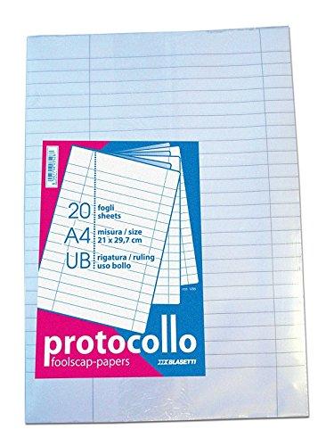 Blasetti - Fogli protocollo uso bollo, A4, 1 pezzo con 20 fogli 1295