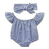 Lazzboy Infant Baby Girls Off Shoulder Short Sleeve Striped Jumpsuit + Headbands Set(12M,Blue)