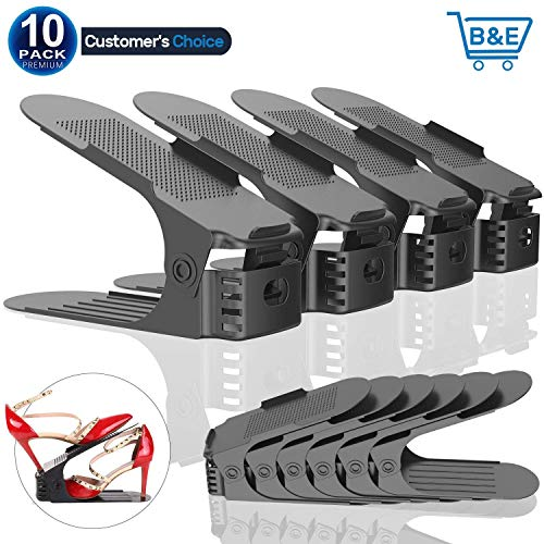 Anclle Adjustable Shoe Slots Organizer, 3 Step Creative Shoe Rack Space Saving Durable Shoe Holder for Shoe Storage Space Saver 10 Packs(Gray)