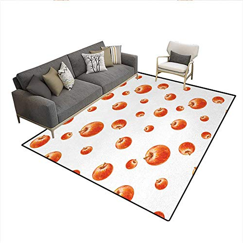 (Carpet,Watercolor Style Cameo Apples Abstract Kitchen Elements Brush Stroke Effects,Outdoor Rug,Vermilion WhiteSize:6'x7')