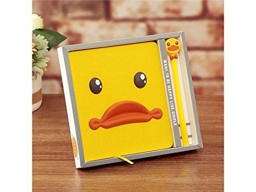 BGTYHU Mode Cartoon Ente Notebook handliche Notizblock Notebook pers/önliche Tagebuch Hinweis Schule Notebooks und Zeitschriften Papier B/ücher mit Stift gelb