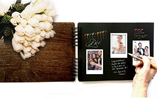 Wooden Rustic Guest Book 11'' x 8.5'' : Made in USA (All Black Cardstock Inside Pages, Front Cover GUESTBOOK Engraved) by Personalize It (Image #2)