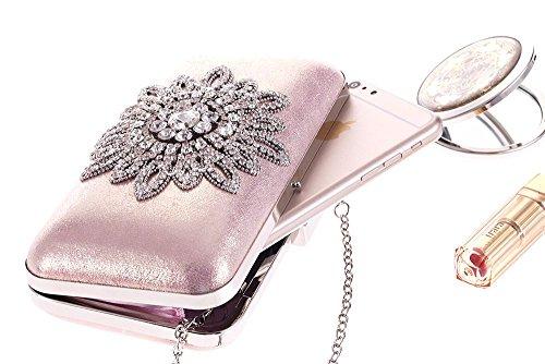 Moonlight color Bag Party Diamond Flower De Sun Silver Pink Noche Bolso Handbag Igspfbjn Embrague Del dnHpUwWqcd