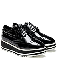 D2C Beauty Women's High Platform Patent Leather Lace Up Flats Fashion Sneakers