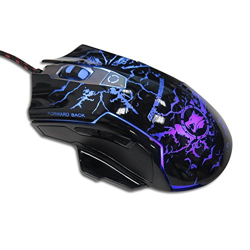 HUSOAR Gaming Mouse With DPI Settings Up to 2400 M728 Wired USB Game Mice Support 4 level Switch For Notebook PC Laptop Computer Macbook-Black
