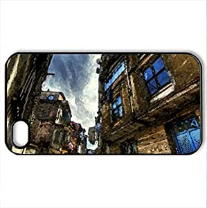 The Blue Door HDR - Case Cover for iPhone 4 and 4s (Houses Series, Watercolor style, Black)