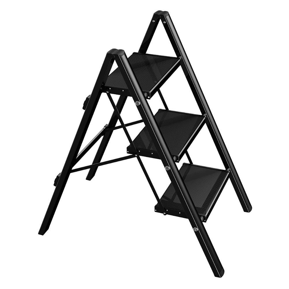 LXF ステップスツール ポータブル3ステップスツール多機能家庭用折りたたみ梯子アルミフラワースタンド収納馬スツール用キッチン、ショップ、オフィス、バスルーム (色 : ブラック) B07QXNCBH8 ブラック