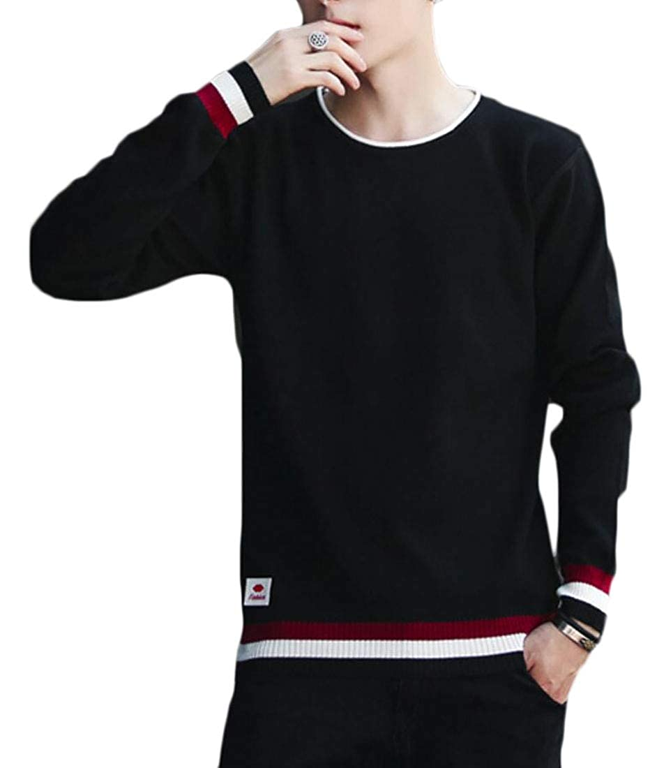 Qiangjinjiu Mens Casual Pullover Crew Neck Long Sleeve Knit Sweater Tops