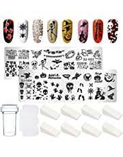 Nail Stamp Set, Nail Stamping Scraper Stamper Set, 2 Stuks Halloween Nail Art Nail Stamping Plate met Stamper en 8 Sponzen voor Dames Meisjes Halloween Decoratie
