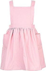 "losofar Children Cotton Apron Japanese Style Bib Home Clothes Painting Soft Comfort Pinafore Apron for Girls Boys (Pink, 23.2""x25.9"")"