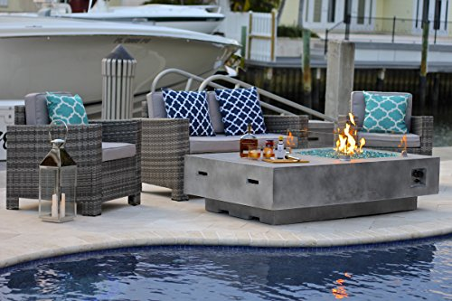4 Piece 65 Quot Rectangular Modern Fire Pit Table W Outdoor