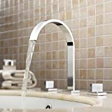 iFaucet Chrome Waterfall Bathroom Sink Faucet Vessel Faucet Centerset Widespread Modern Two Handle Three Hole Faucets Sprayer Lavatory Faucets Unique Designer Plumbing Fixtures Tub Shower Mixer Taps Supply Lines