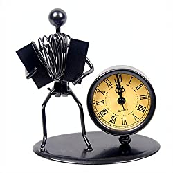 Western Style Clock Watch Iron Art Music Figure~Home Office Desk Decor Gift (C64 Accordion)
