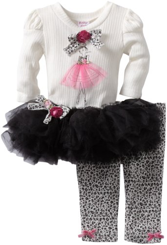UPC 807746256988, Blueberi Boulevard Baby-girls Newborn Bows Embroidered Ballerina Knit Set With Mesh Tutu Skirt, Black, 6-9 Months