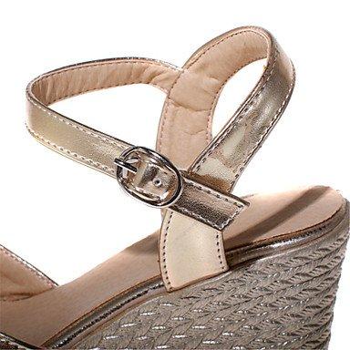 LvYuan Tacón Cuña-Confort Zapatos del club-Sandalias-Oficina y Trabajo Vestido Informal-Cuero Patentado Semicuero-Azul Rosa Plata Oro Silver