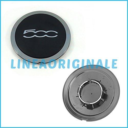 Fiat Coppetta Coprimozzo Nera con logo per Cerchi Originale 500
