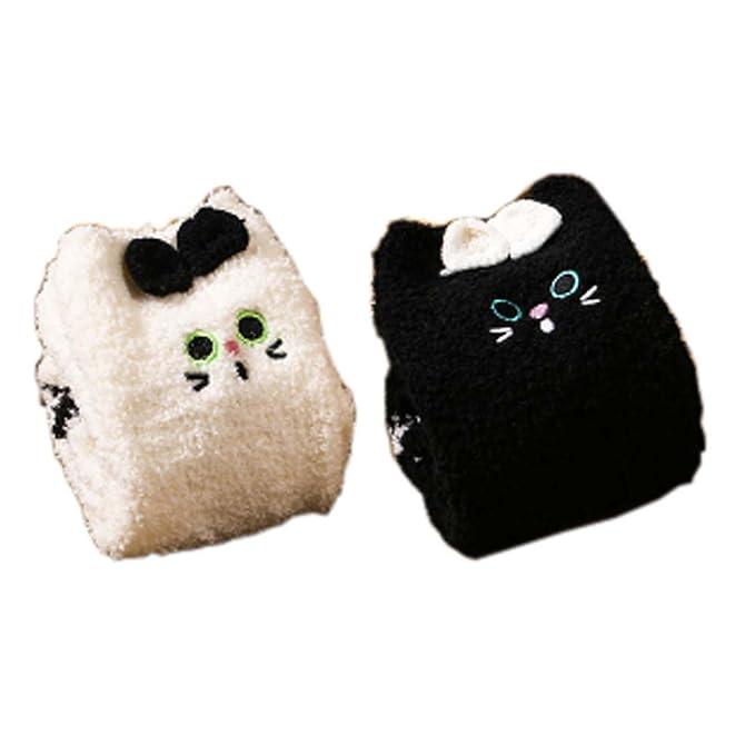 2 pares de calcetines de dormir difusos suaves Calcetines de calcetines Calcetines calientes de piso Regalos de Navidad, gatos negros y blancos: Amazon.es: ...