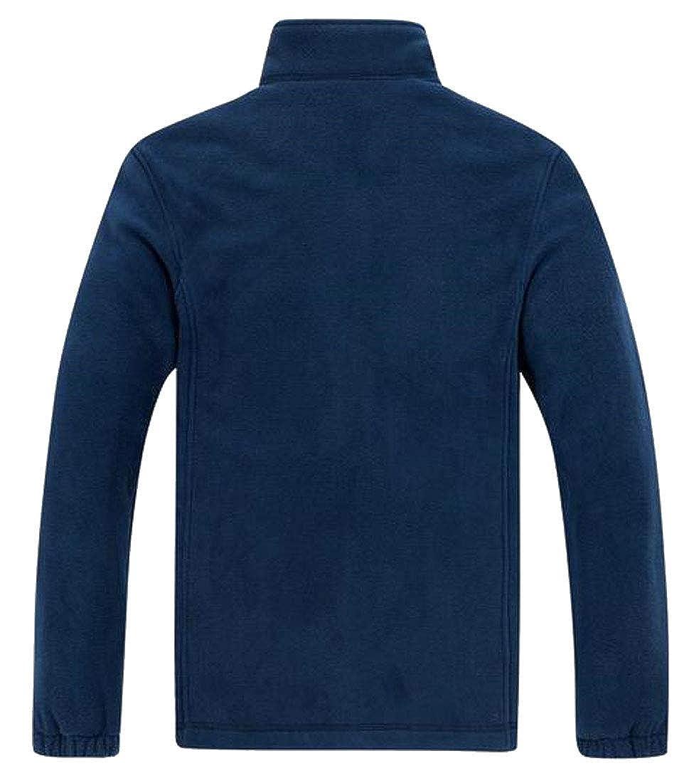 Jofemuho Mens Warm Stand Collar Fleece Winter Zip Front Sweatshirt Polar Fleece Jacket Coat