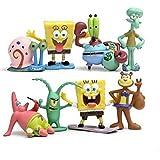 8 Piece SpongeBob Figures Toys, Squidward, Sandy Cheeks, Patrick Star, Mr. Krabs, Cake Topper, 2''