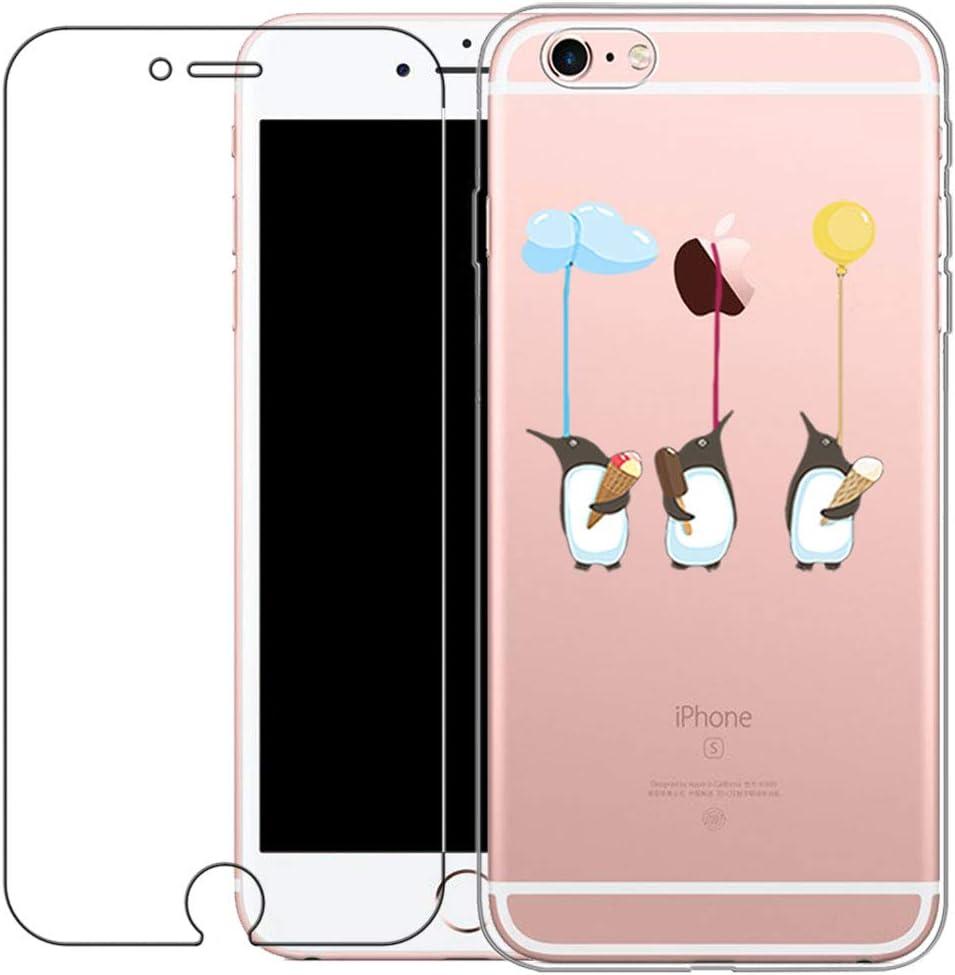 Funda iPhone 6 Plus,Funda iPhone 6S Plus Gatos Funda Blossom01 Funda Ultra Fina de Gel de Silicona TPU Con Dibujo Animado Para iPhone 6 // 6S Plus Con Protector de Pantalla de Vidrio Templado