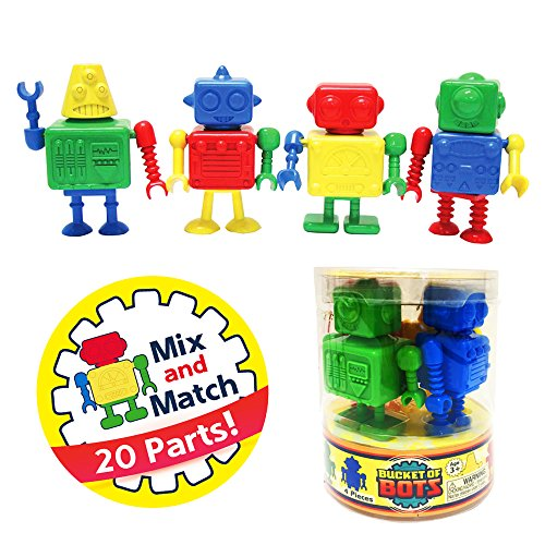 Plastic Robot - Snaptoys Bucket of Bots Robot Mix and Match Snap Together Building Play Set