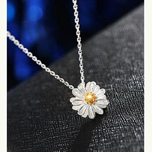Phonphisai shop 925 Silver Plated Flower Necklace Cute Clavicle Chain Daisy Charms Pendant Hot t ()