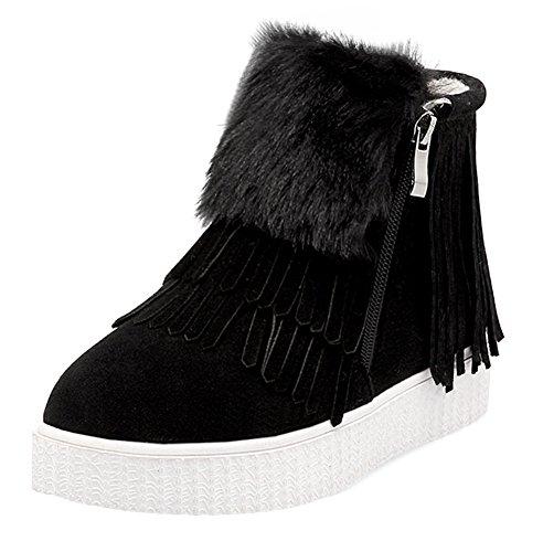 Chfso Kvinners Comfy Faux Fur Foret Vanntett Dusk Glidelås Lav Hæl Plattform Vinter Varm Sneaker Støvler Svart