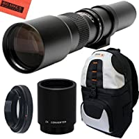 High-Power 500mm/1000mm f/8 Manual Telephoto Lens + Deluxe SLR BackPack for Nikon D90, D80, D70, D60, D40, D40X, D3X, D3S, D3000, D3100, D3200, D3300, D5000, D5100, D5200, D5300, D5500, D7000, D7100, D7200, D300, D300s, D600, D610, D700, D750, D800, D800e, D810, D810a DSLR