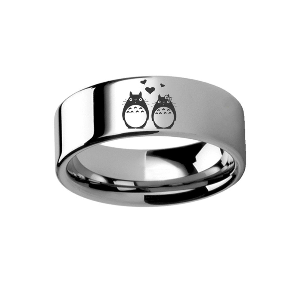 My Neighbor Totoro of Miyazaki Studio Ghibli - Couple Love Ring 8mm Tungsten Band Ring Engraved Free by Thorsten from Roy Rose Jewelry