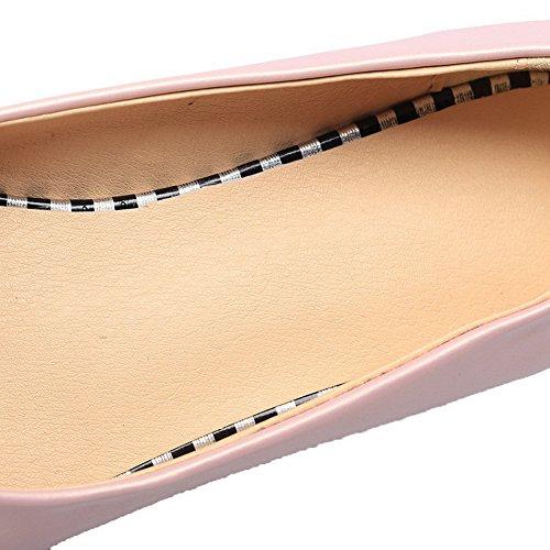 VogueZone009 Damen Spitz Zehe Ziehen auf PU Rein Pumps Schuhe Pink