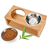 Lisuu Elevated Dog and Cat Bowls - Raised Pet Feeder with 2 Stainless Steel Bowls - Solid Bamboo Stand Perfect for Cats and Dogs
