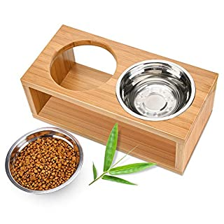Lisuu Elevated Dog and Cat Bowls,Raised Pet Feeder with 2 Stainless Steel Bowls,Solid Bamboo Stand Perfect for Cats and Dogs