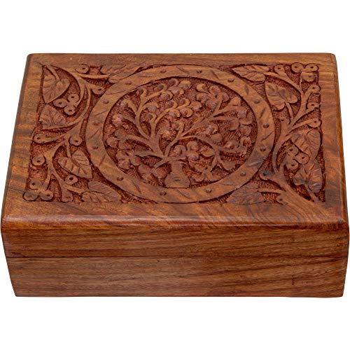 4Rissa Tree of Life Wooden Box Hand Carved Filigree Wood Celtic Keepsake Trinket Gift Storage