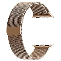 top4cus Double Electroplating 38mm Milanese Loop Stainless Steel Replacement iWatch Band with Magnetic Closure Clasp for Apple Watch 38mm - Gold