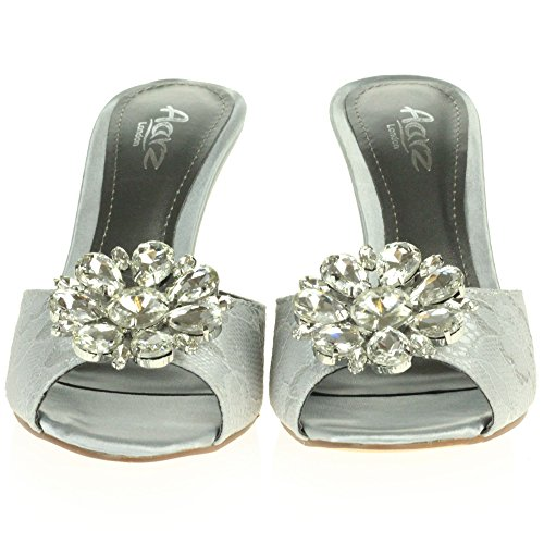 AARZ LONDON Frau Damen Kristall Diamant Abend Hochzeit Party Abschlussball Braut Kätzchen Ferse Peep Toe Sandalen Schuhe Größe Hellgrau
