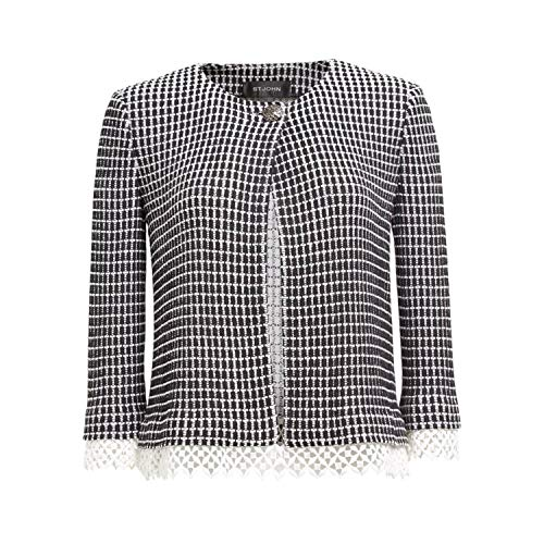 St. John Collection Womens Textured Grid Jacket Caviar/Bianco 14 - John Collection Tweed Jacket