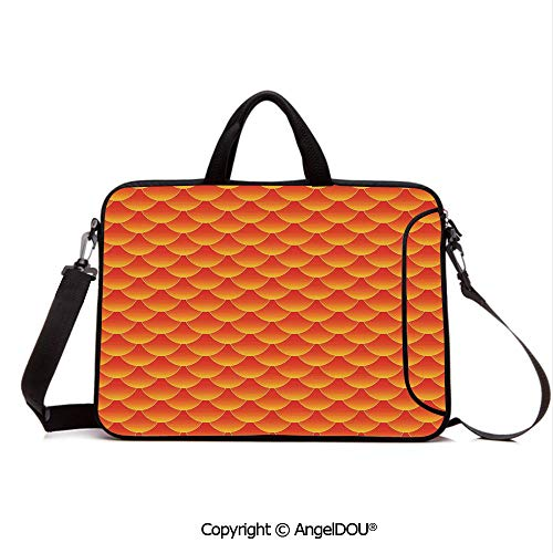 AngelDOU Neoprene Laptop Shoulder Bag Case Sleeve with Handle and Extra Pocket Goldfish Scales Forming Scallop Random Pattern Fortune Fun Abstract Art Decor De Compatible with MacBook/Ultrabook/HP/A