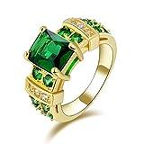 Huanhuan Fashion Women's Green Emerald Cut CZ Yellow Gold Filled Wedding Ring Gift Size 6 to 11