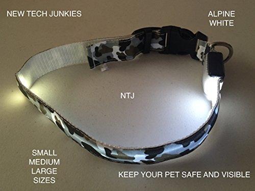 Camo LED PET Glow Collar Dog Cat Night Safety Lead Camoflage Adjustable Harness Flash Light Up (White Camo, medium) -