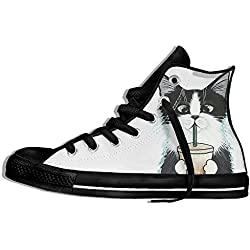 NAFQ Cat Kitten Illustration Classic Canvas Sneakers Shoes Lace Up Unisex High Top