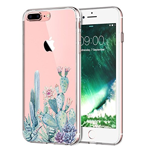 LUOLNH For iPhone 8 Plus Case,iPhone 7 Plus Case with flowers,Slim Clear Chrome Gold Floral Pattern Soft Flexible TPU Back Cover Case for iPhone 8 Plus/iPhone 7 Plus -Cactus flower