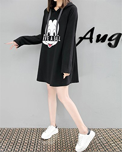 Oversized con Felpe nero Colore Abito Lunga Tasca Hoodies Pullover Moda Frontale Donna Sweatshirt Allenamento Puro Felpa 2 DaBag Manica Cappuccio Top 0Xqgx4w4