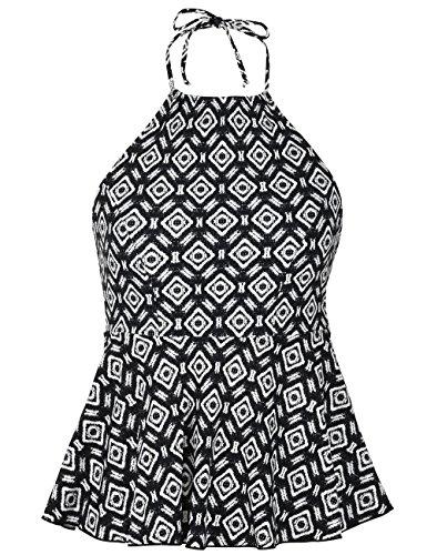 coastal rose Women's High Neck Tankini Top Halter Swimsuits High Waisted Ruffled Hem Swimwear US 6 Black White