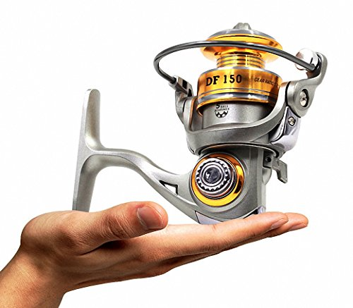 DueWork Spining Fishing Reels with 5.2:1 Gear Ratio 5BB, Left/right Interchangeable for Freshwater and Saltwater Mini 150 Series Ultralight 5 Ounce