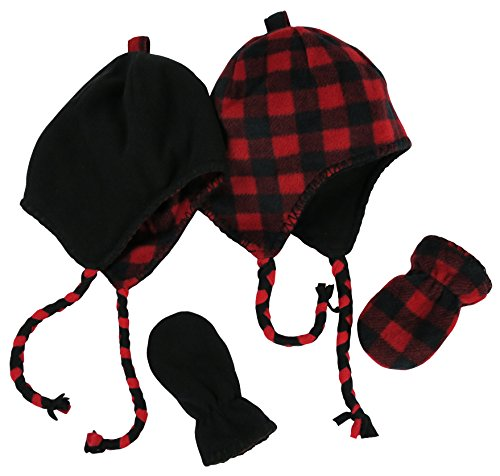 N'Ice Caps Little Kids and Infants Reversible Hat and Mittens Fleece Skater Set (3-6 Months, Black Solid/Red Checker Infant)