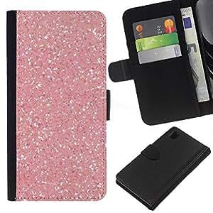 For Sony Xperia Z1 L39 Case , Pink Snow Sparkling White Diamond - la tarjeta de Crédito Slots PU Funda de cuero Monedero caso cubierta de piel